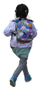 little asian girl with a colorful backpack running