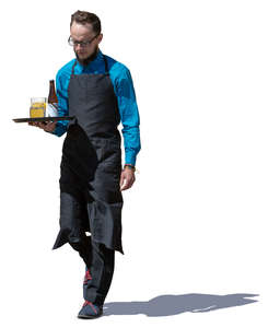 waiter with a tray walking