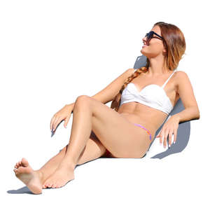 woman in a bikini sunbathing