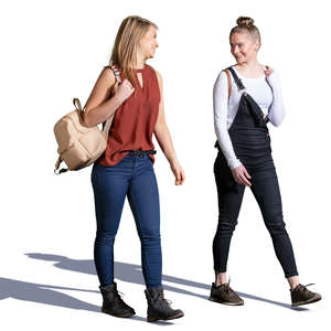 two teenage girls walking