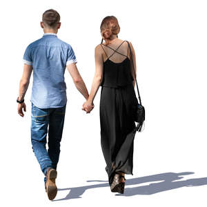 couple in partial shade walking hand in hand