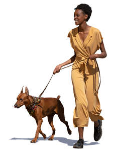 black woman walking a dog