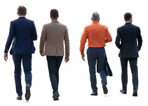 four businessmen walking