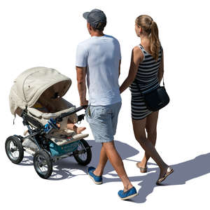family with a baby carriage walking