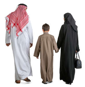 arab family of three walking