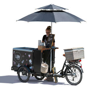 woman with an ice cream cart