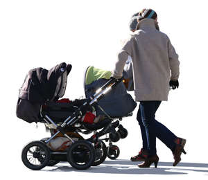 two women with baby carriages walking