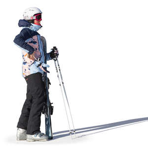 woman with a snowboard standing