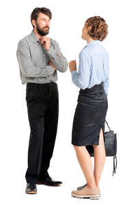 two office workers standing and talking