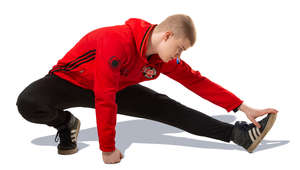 young man doing a stretching exercise