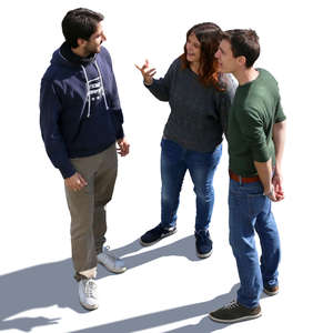 three people standing and talking seen from above