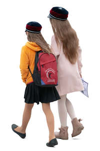 two schoolgirls walking