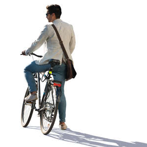 man with a bicycle standing
