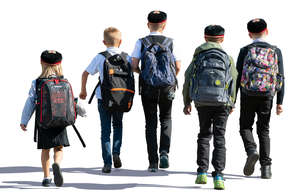 group of schoolchildren walking