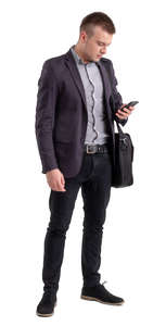 businessman with a laptop bag standing