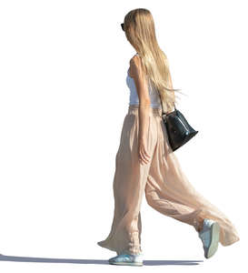 long-haired woman walking
