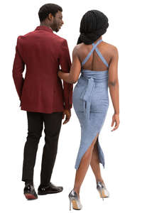 fancy black couple walking
