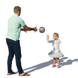 father and daughter playing ball