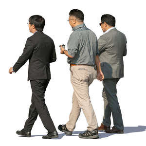three asian men walking