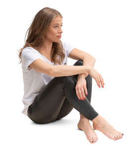 barefooted woman sitting