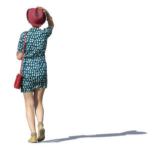 woman with a red hat walking