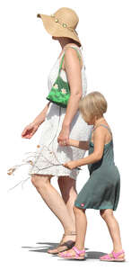 mother and daughter walking hand in hand in summer