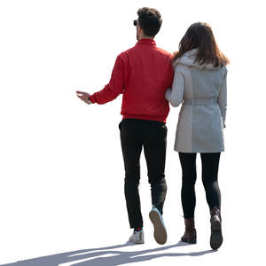 couple walking arm in arm