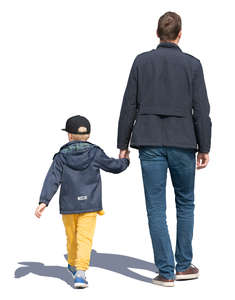 father and son walking hand in hand