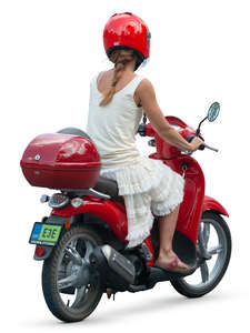 woman riding a red motor scooter