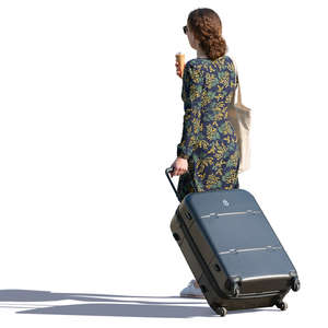 woman with a big suitcase walking