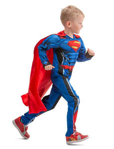 boy in a superman costume running