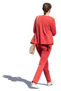 woman in a red outfit walking