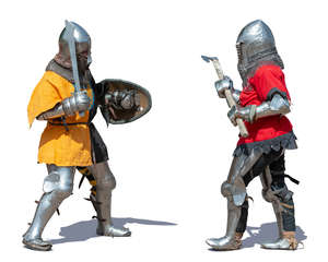 two medieval soldiers fighting