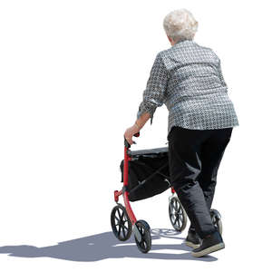 old woman with a walking frame