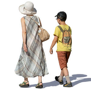 mother and son walking in summertime