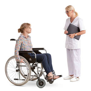 doctor talking to a patient in wheel chair