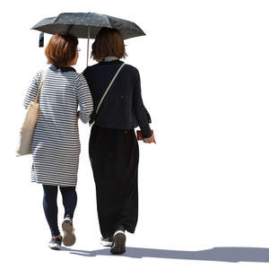 two asian women walking under a parasol