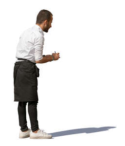 waiter standing and taking an order