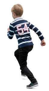 boy in striped sweater running