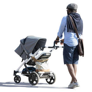black man with a baby carriage walking