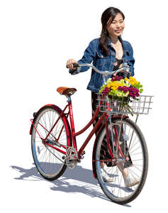 asian woman with a red bike