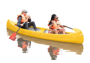 man and woman riding a kayak