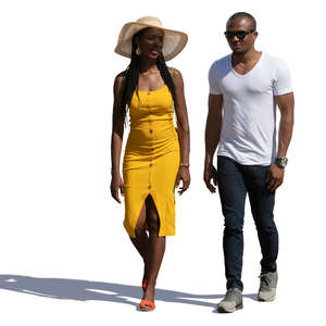 black man and woman walking in summertime