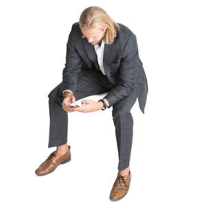 young businessman sitting seen from above