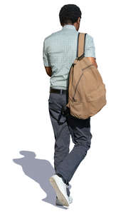 black man with a backpack walking