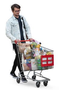 man with a trolley full of groceries