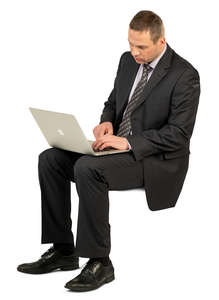 man with a laptop sitting