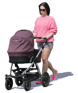 woman with a baby carriage walking
