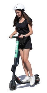 young woman riding an electrical scooter