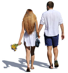 couple walking hand in hand in summertime